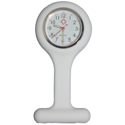 Nurse watch with silicone holder; White