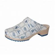 BigHorn clogs, niet buigzame houten loopzool ; Delfst blauw