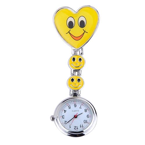 Verpleegkundigeklokje vrolijk hart; geel