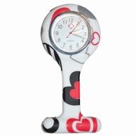 Verpleegkundige klokje siliconen; hart rood/zwart