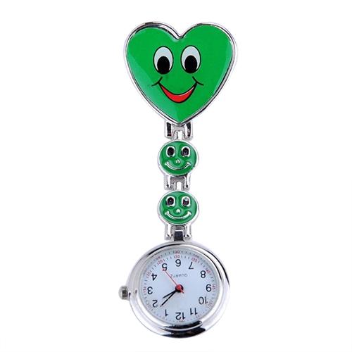 Verpleegkundigeklokje vrolijk hart; groen