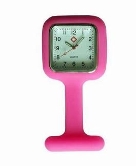 Verpleegkundige klokje siliconen vierkant;  Roze