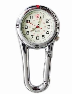 Stoer verpleegkundige klokje in stevige behuizing, zilver