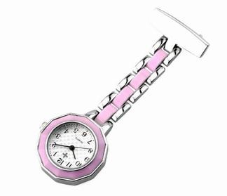 Verpleegkundige klokje met mooie band; Roze /metaal