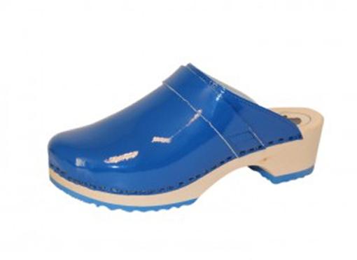 BigHorn clogs, niet buigzame  houten loopzool ; Blauw lak