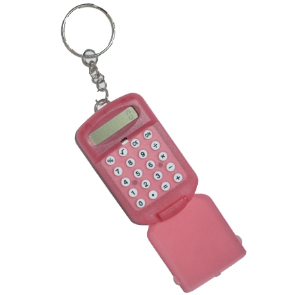 Mini calculator met handige clip; Rood