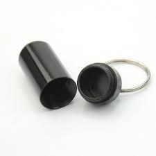 """Pillendoosje """" sleutelhanger"""" zwart"""