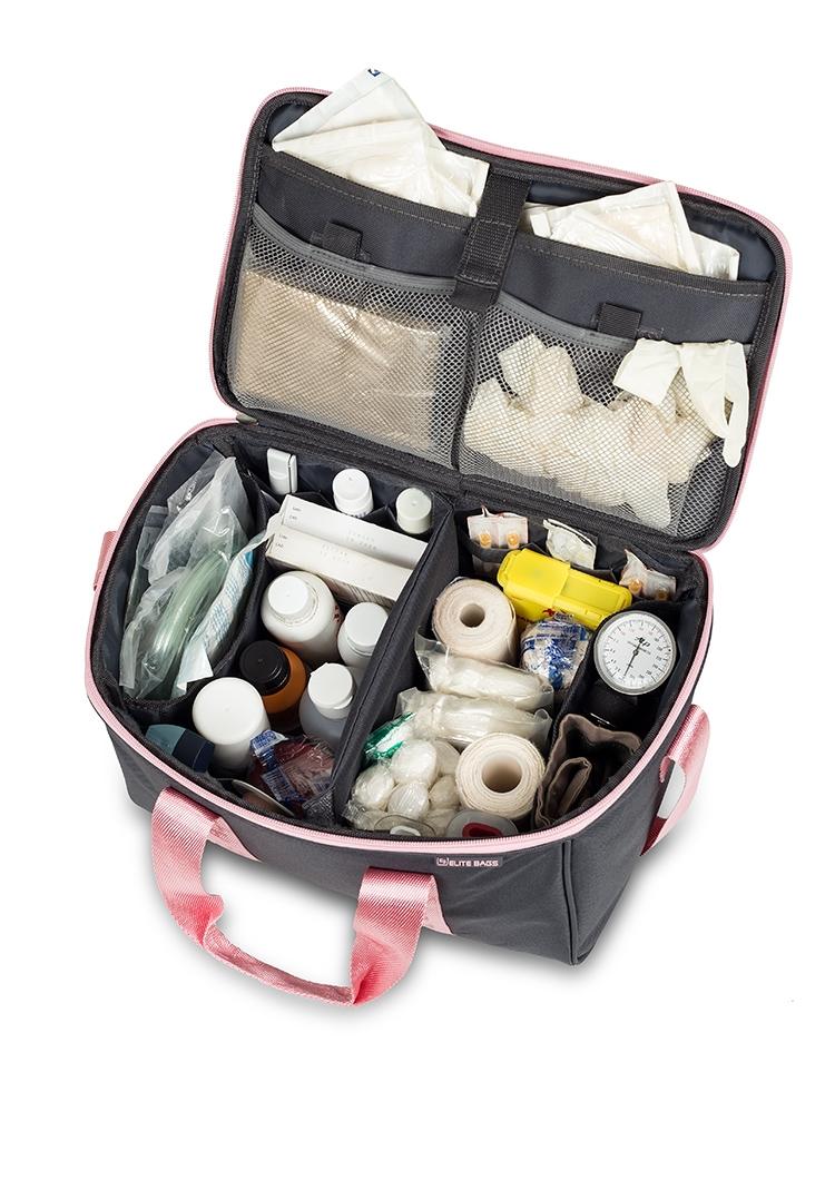 """Praktiche """" eerste hulp"""" tas ; grijs/roze"""