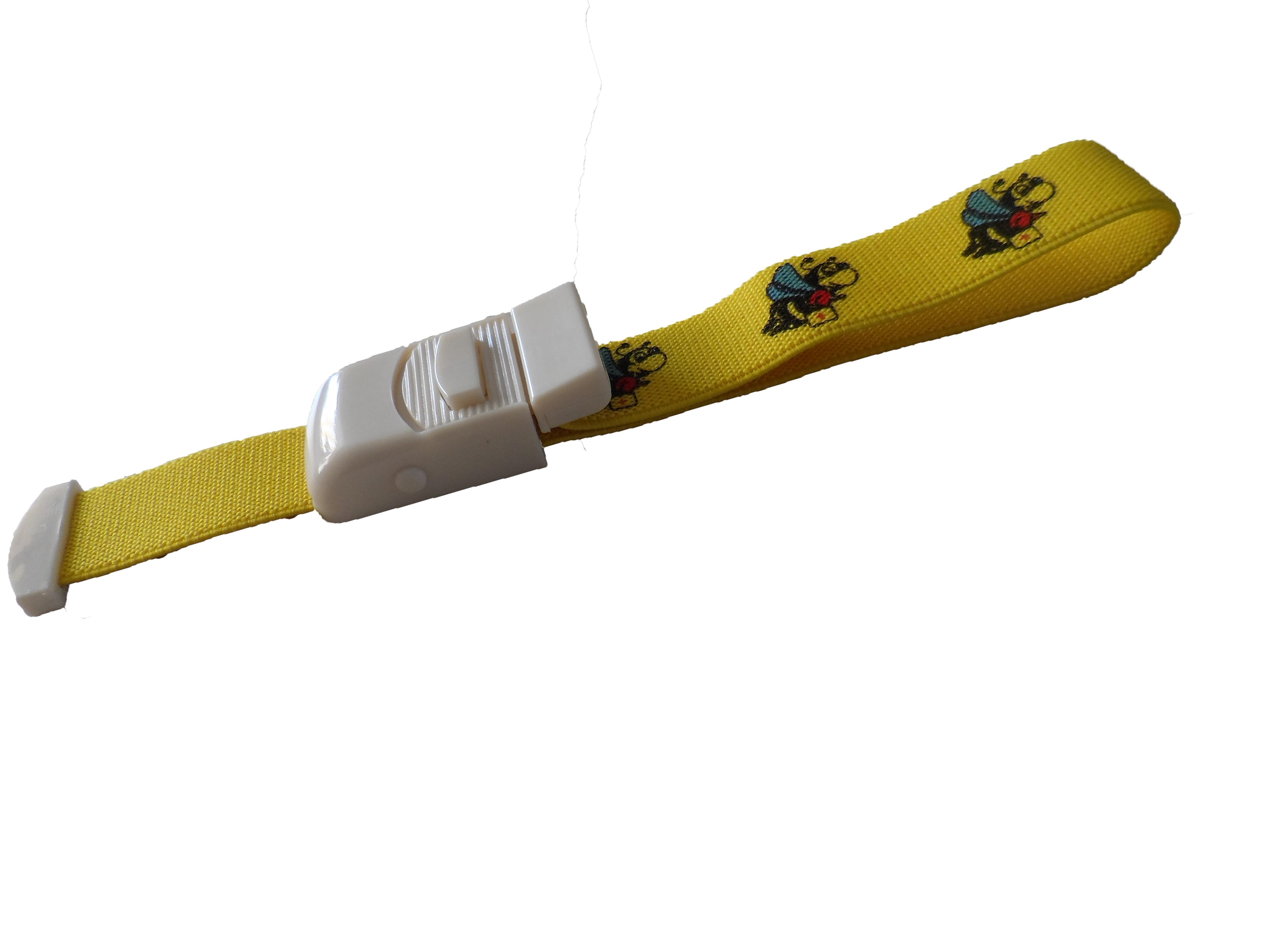 Stuwband; kindermotief geel met vrolijke bijtjes