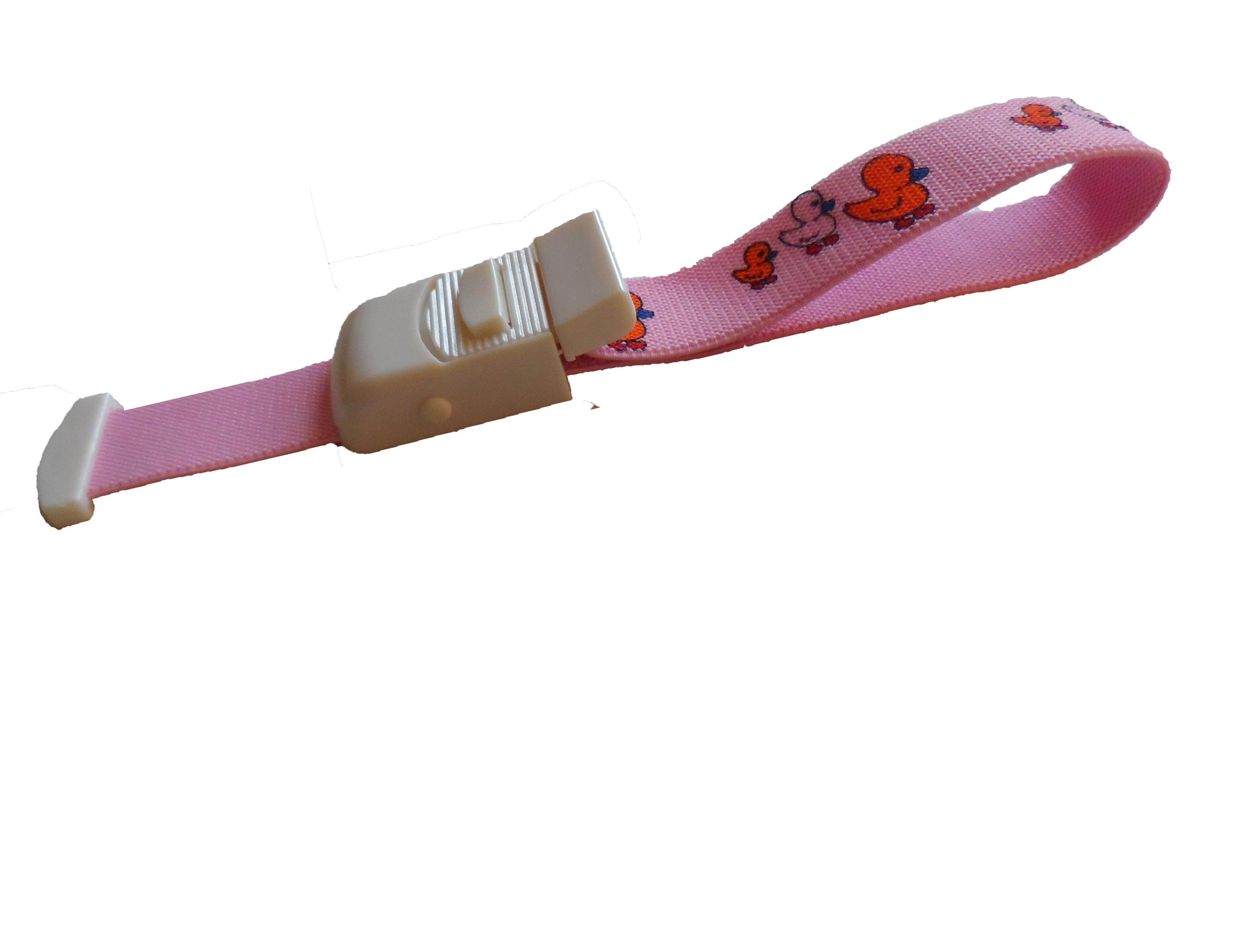 Stuwband; kindermotief roze met eendjes