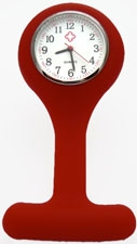 Nurse watch with silicone holder; Red