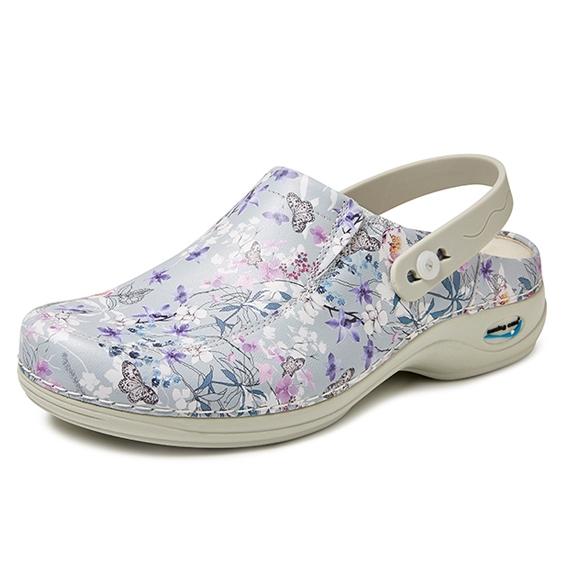 Wash & Go clog; open met riempje ; Elastiek grijs bloem